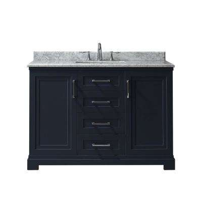 Lynn 48 in. W x 22 in. D Vanity in Midnight Blue with Marble Vanity Top in White with White Basin