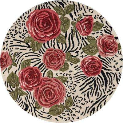 Sinuous Red / Multi 6 ft. Round Rose Garden Trail Wool Blend Area Rug