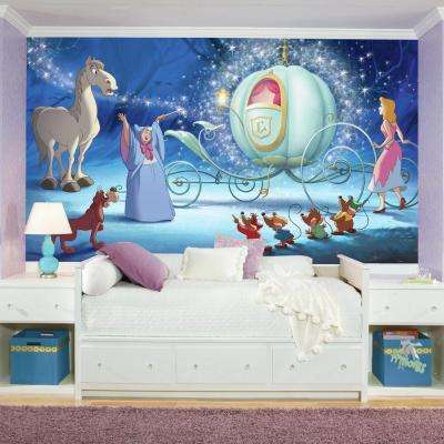 72 in. x 126 in. Disney Princess Cinderella Carriage XL Chair Rail 7-Panel Prepasted Mural