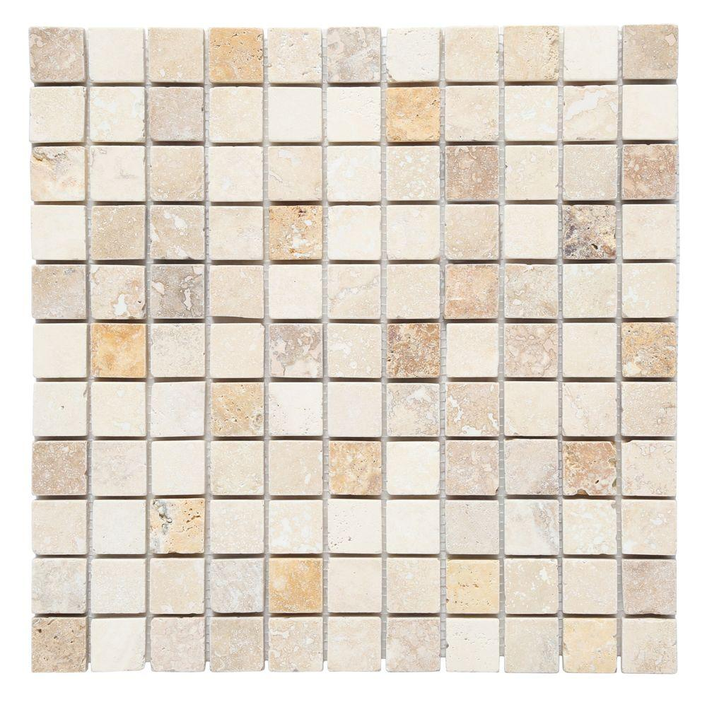 null Mixed 12 in. x 12 in. x 10 mm Tumbled Travertine Mesh-Mounted Mosaic Tile