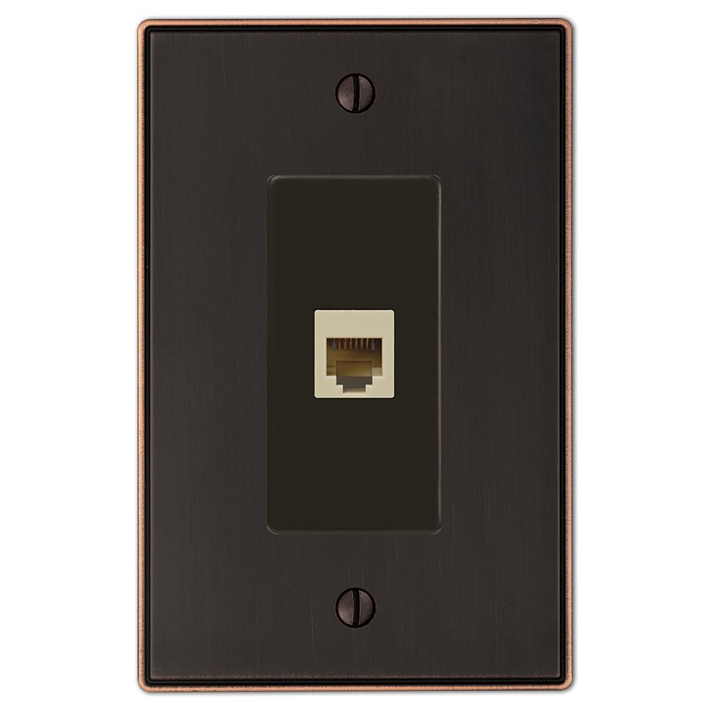 Ansley 1 Gang Phone Metal Wall Plate - Aged Bronze