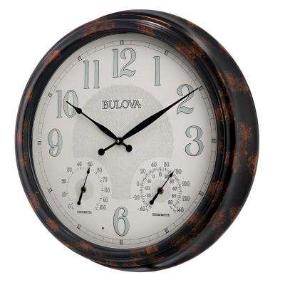 22 in. H x 22 in. W Indoor Outdoor Wall Clock with Thermometer