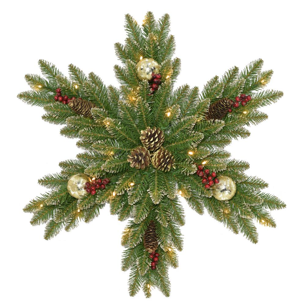 32 in. Glittery Gold Dunhill Fir Snowflake with Battery Operated LED