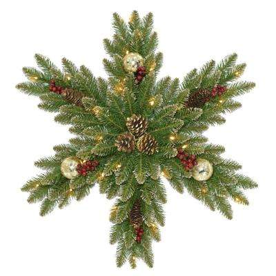 32 in. Glittery Gold Dunhill Fir Snowflake with Battery Operated LED Lights
