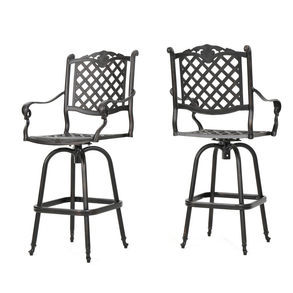Fantastic Noble House Nina Swivel Metal Outdoor Bar Stool 2 Pack Machost Co Dining Chair Design Ideas Machostcouk