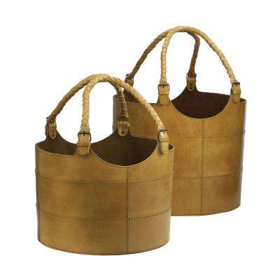 Caramel Leather Nested Decorative Baskets (Set of 2)