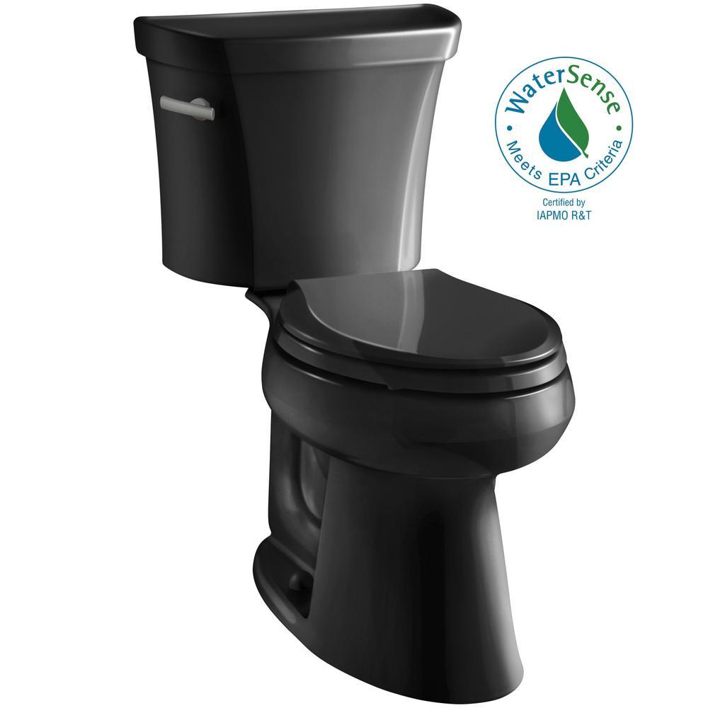 Highline 2-Piece 1.0 GPF Single Flush Elongated Toilet in Black Black