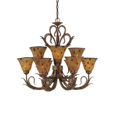 Concord Series 9-Light Bronze Chandelier with Penshell Resin