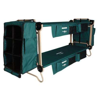 32 in. Green Bunkable Beds with Leg Extensions Bed Side Organizers and Hanging cabinets (2-Pack)