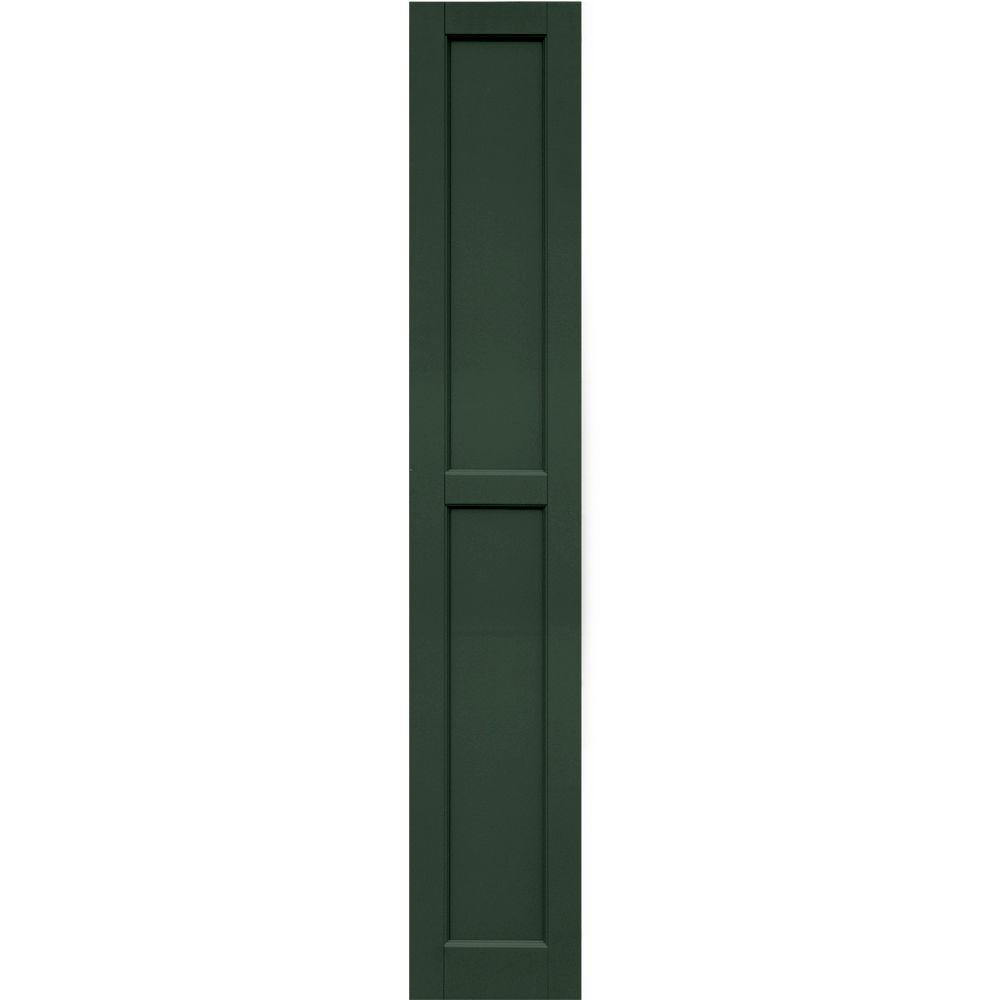 Winworks Wood Composite 12 in. x 70 in. Contemporary Flat Panel Shutters Pair #656 Rookwood Dark Green