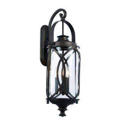3-Light Rubbed Oil Bronze Outdoor Crossover Wall Lantern