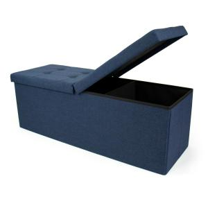 Magnificent Humble Crew Blue 43 In Folding Storage Ottoman Bench With Ibusinesslaw Wood Chair Design Ideas Ibusinesslaworg