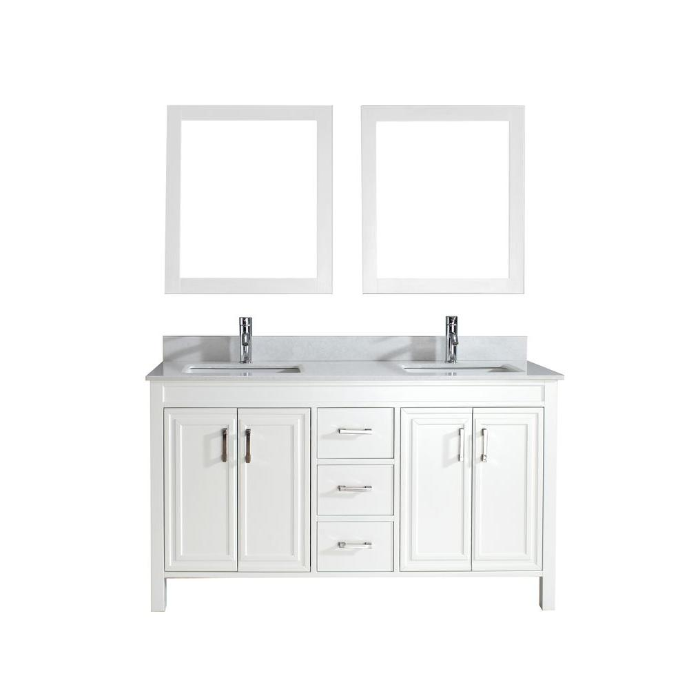 Studio Bathe Dawlish 60 in. Vanity in White with Solid Surface Marble Vanity Top in White and Mirror