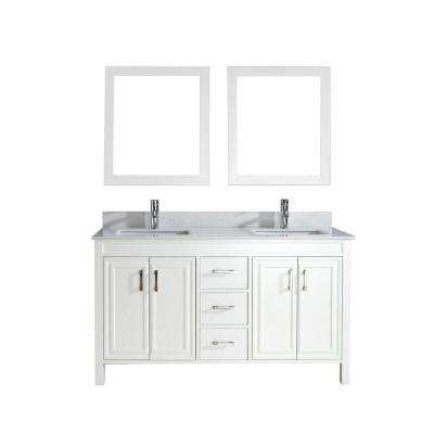 Dawlish 60 in. Vanity in White with Solid Surface Marble Vanity Top in White and Mirror