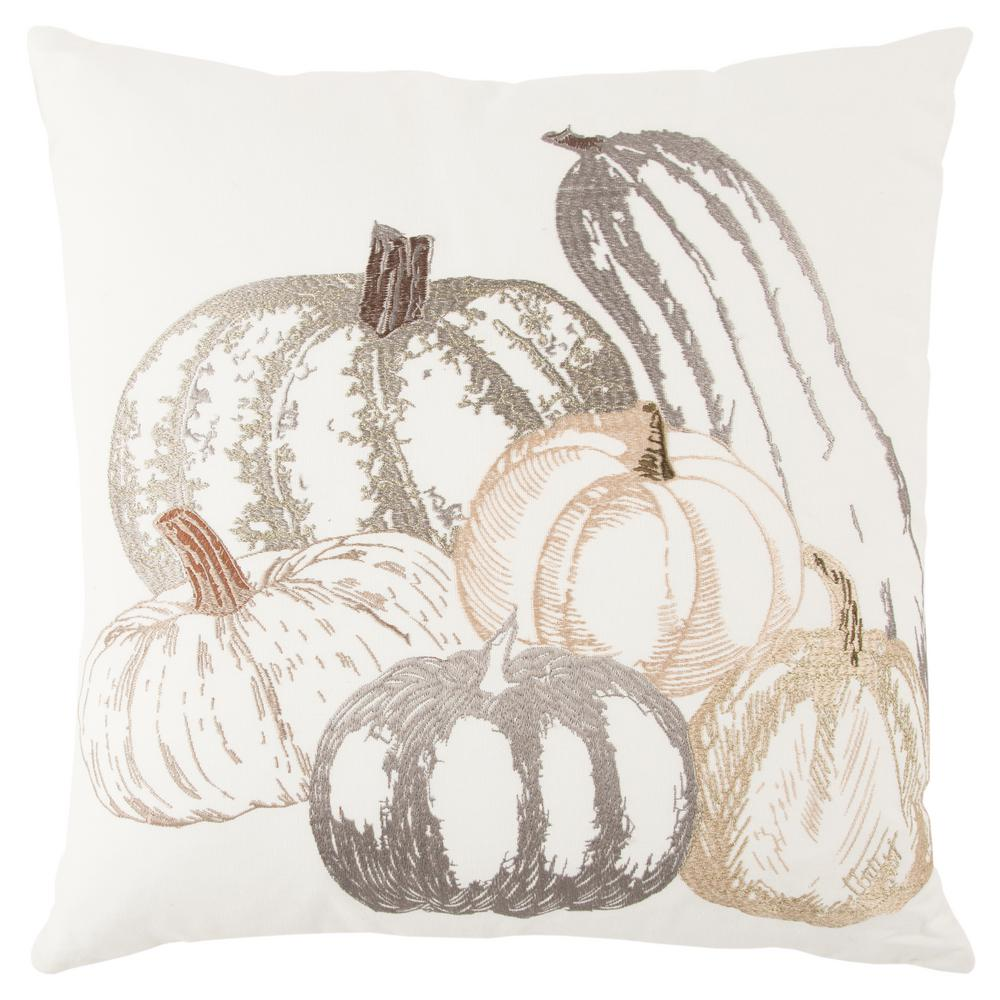 Fall Pumpkins 20 in. x 20 in. Decorative Filled Pillow