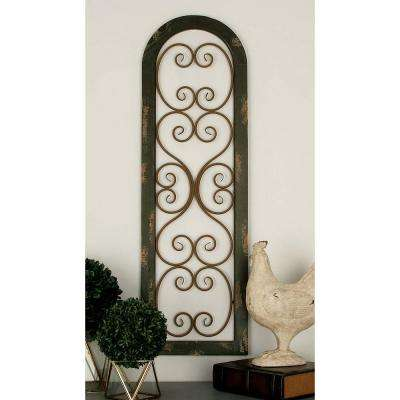 15 in. x 48 in. Rustic Traditional Arched Wall Panel in Distressed Finish with Scrollwork Accents