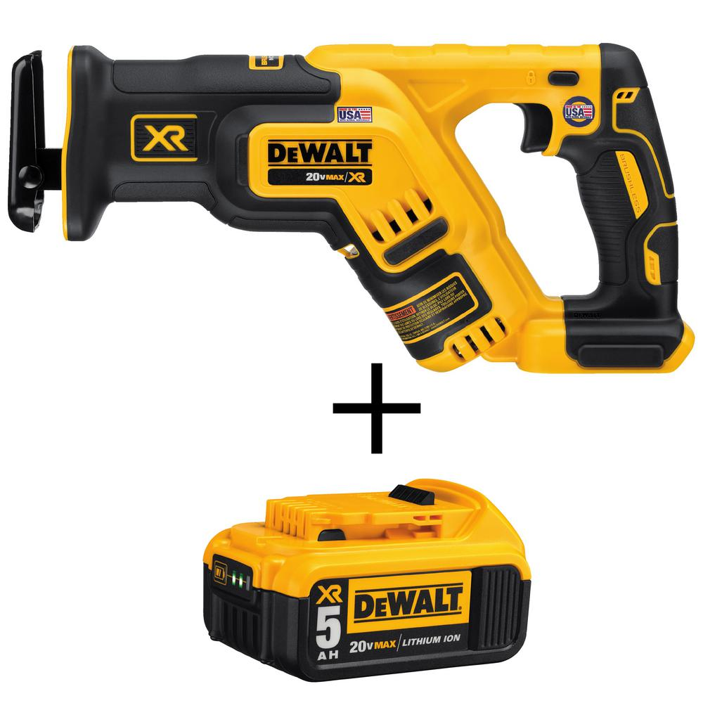 DEWALT 20-Volt MAX XR Li-Ion Brushless Cordless Compact Reciprocating Saw (Tool-Only) with Free 20-Volt MAX Li-Ion Battery 5Ah