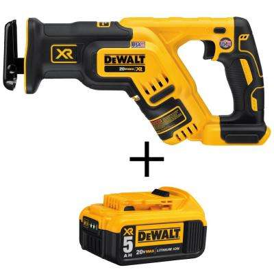 20-Volt MAX XR Li-Ion Brushless Cordless Compact Reciprocating Saw (Tool-Only) with Free 20-Volt MAX Li-Ion Battery 5Ah