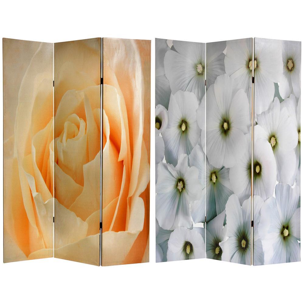 6 ft. Printed 3-Panel Floral Room Divider