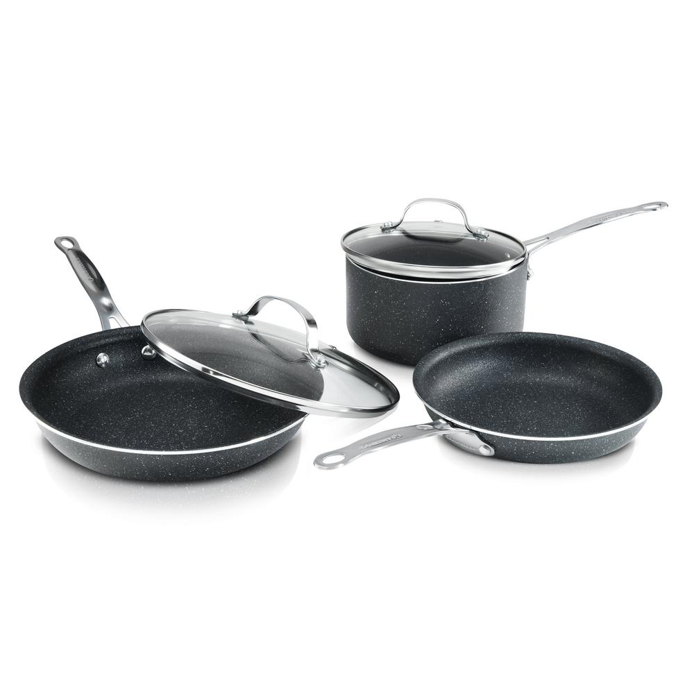 5-Piece Aluminum Ultra-Durable Non-Stick Diamond Infused Cookware Set with Glass Lids