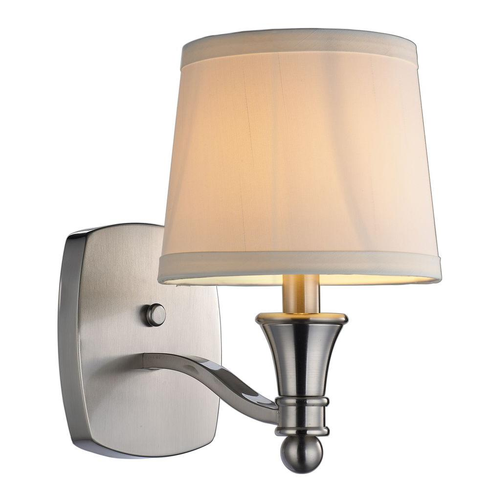hampton bay towne 1-light brushed nickel sconce-ew1303sba - the