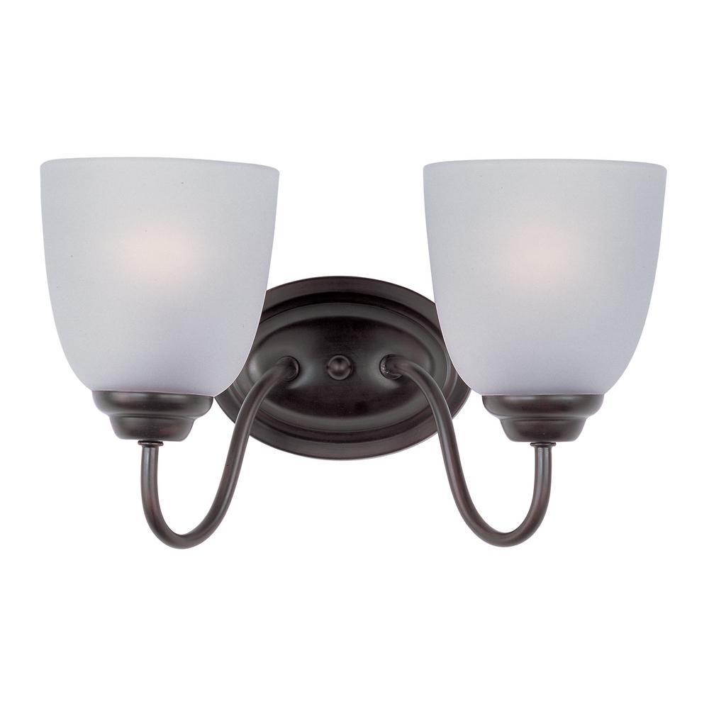 Maxim lighting stefan 2 light oil rubbed bronze bath light for Bathroom vanity light fixtures oil rubbed bronze