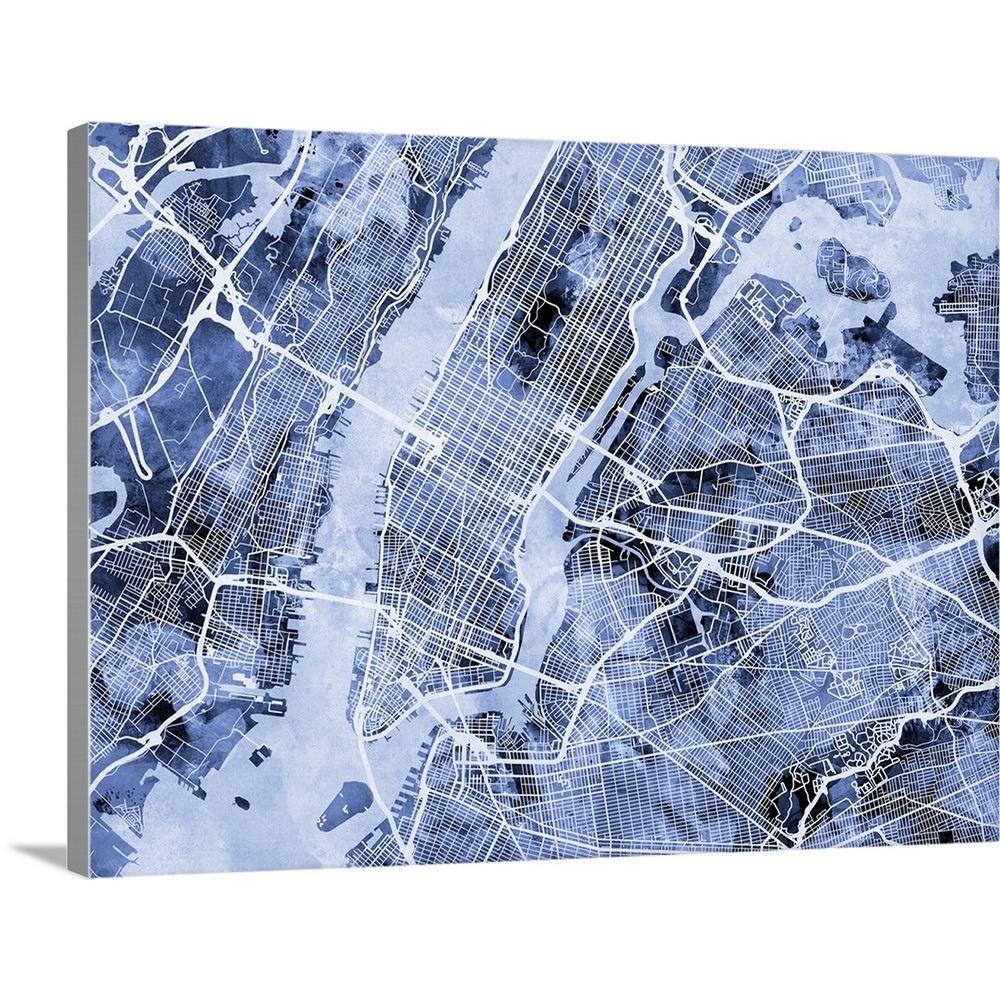 Greatbigcanvas 40 In X 30 In New York City Street Map By Michael
