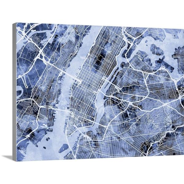 Street Map Of New York.Greatbigcanvas 40 In X 30 In New York City Street Map By Michael