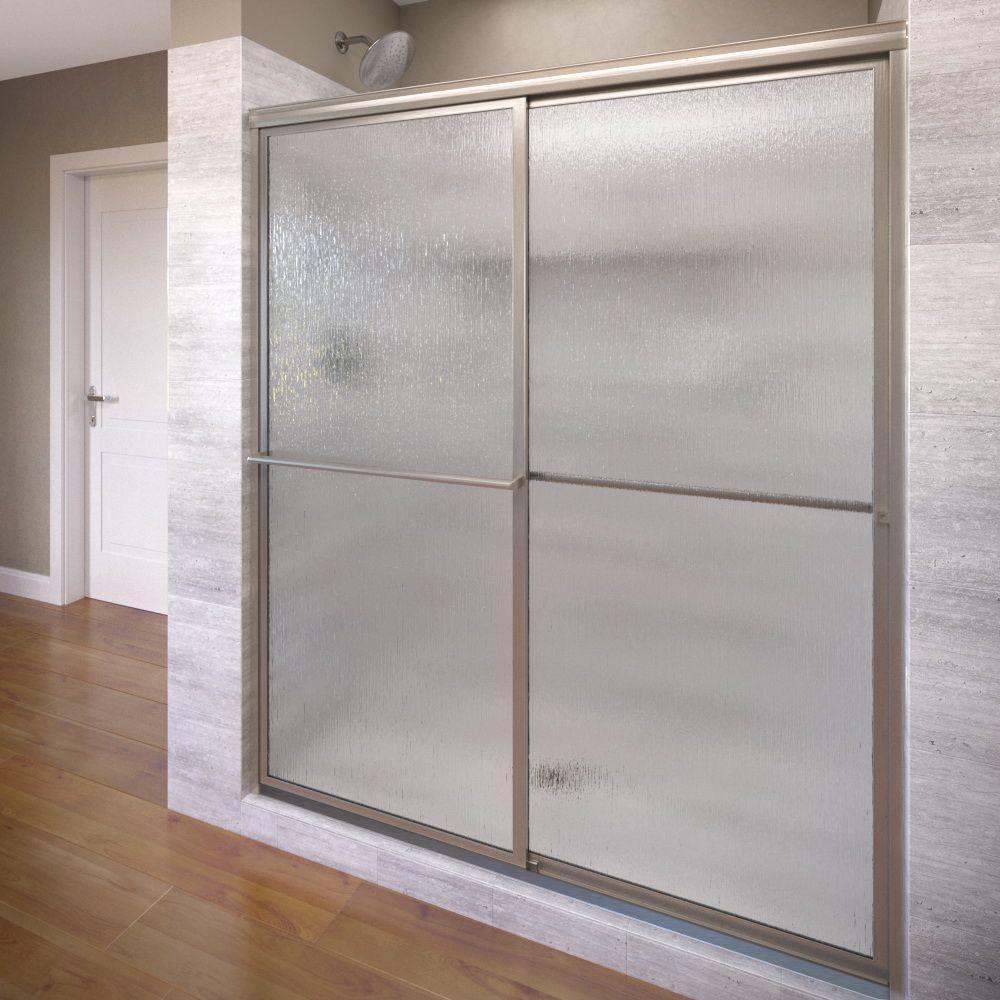 Deluxe 54 in. x 71-1/2 in. Framed Sliding Shower Door in Brushed Nickel