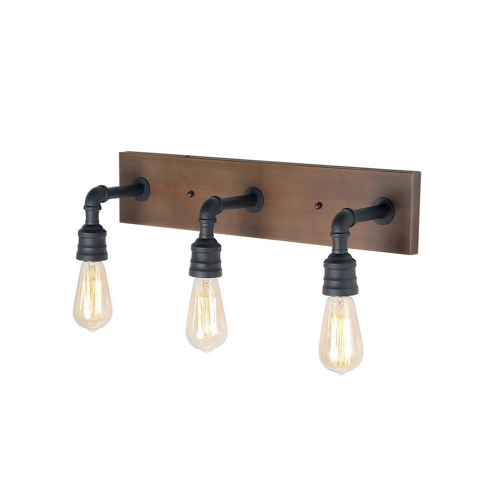 3-Light Black Bathroom Vanity Light