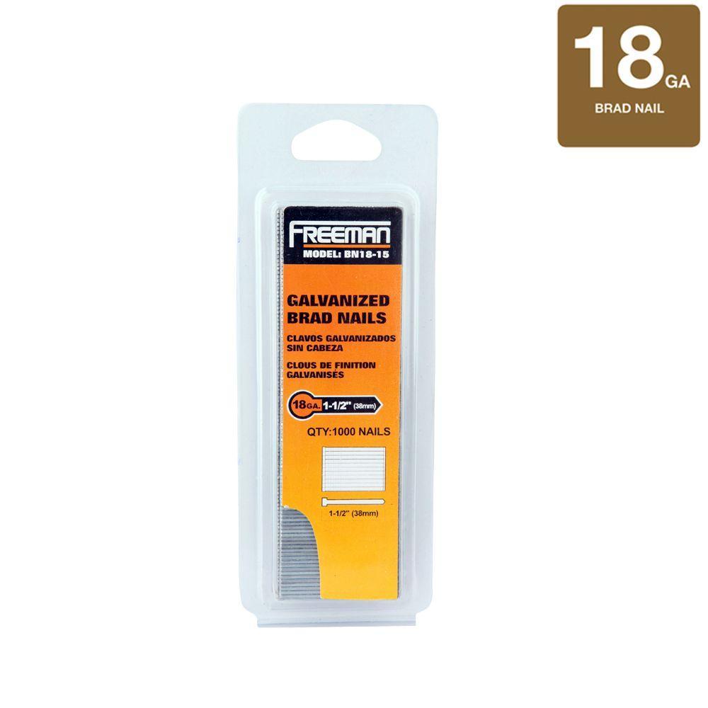 Freeman 1-1/2 in. 18-Gauge Brad Nails 1000 per Box
