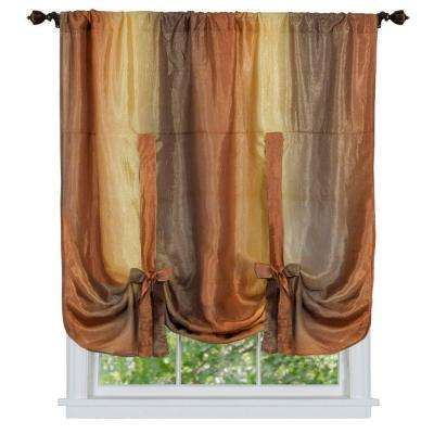Semi-Opaque Ombre 50 in. W x 63 in. L Tie Up Shade Curtain in Autumn