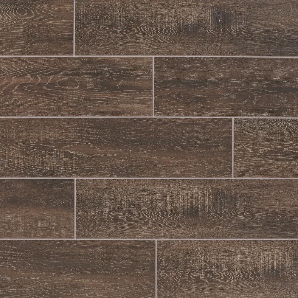 Daltile Evermore Coffee Wood 6 In X 24 In Glazed