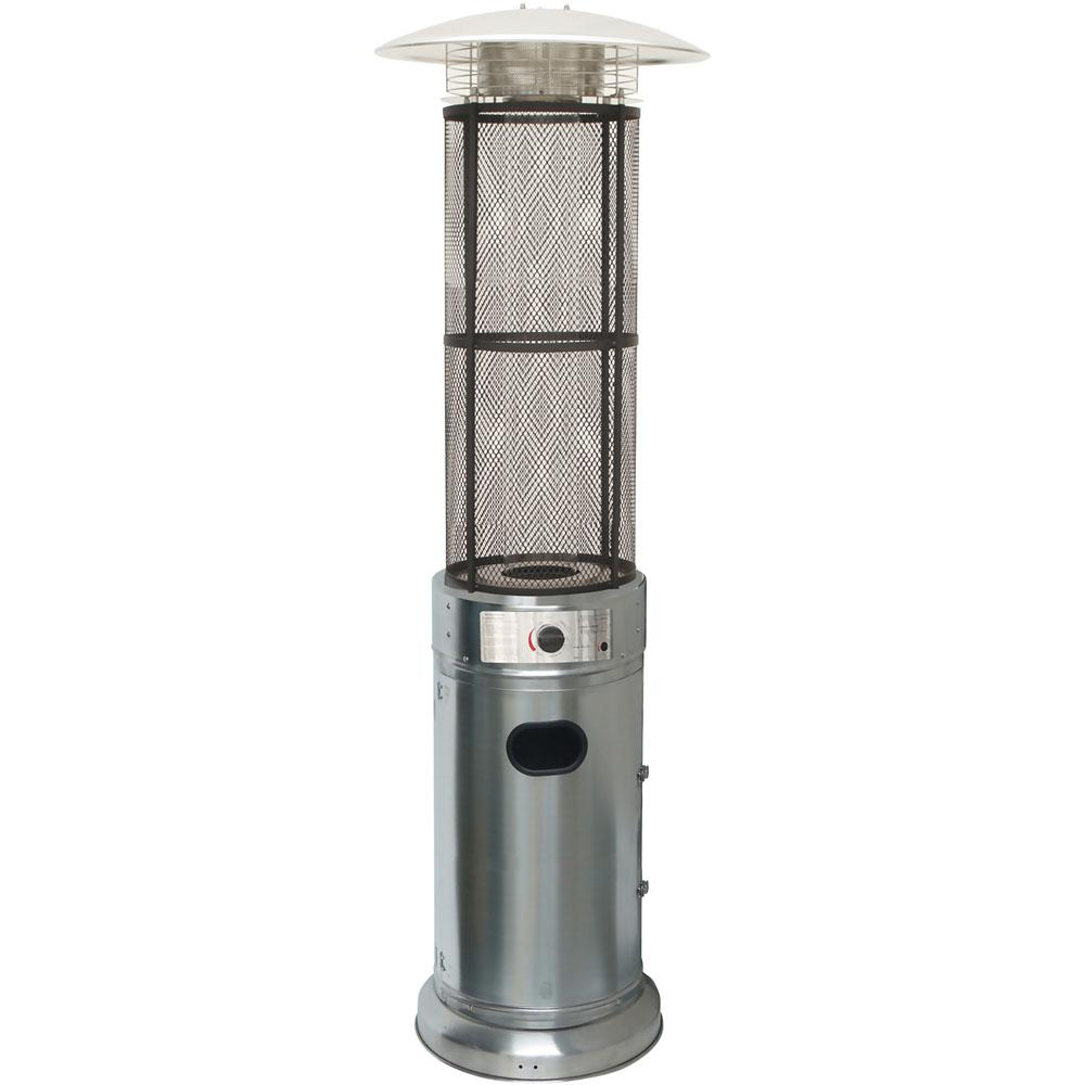 6 ft. 34000 BTU Stainless Steel Cylinder Patio Heater with Glass