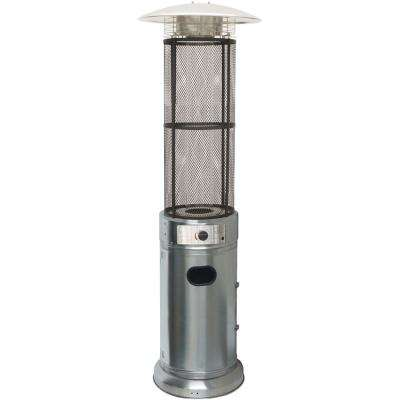 6 ft. 34000 BTU Stainless Steel Cylinder Patio Heater with Glass Flame Display