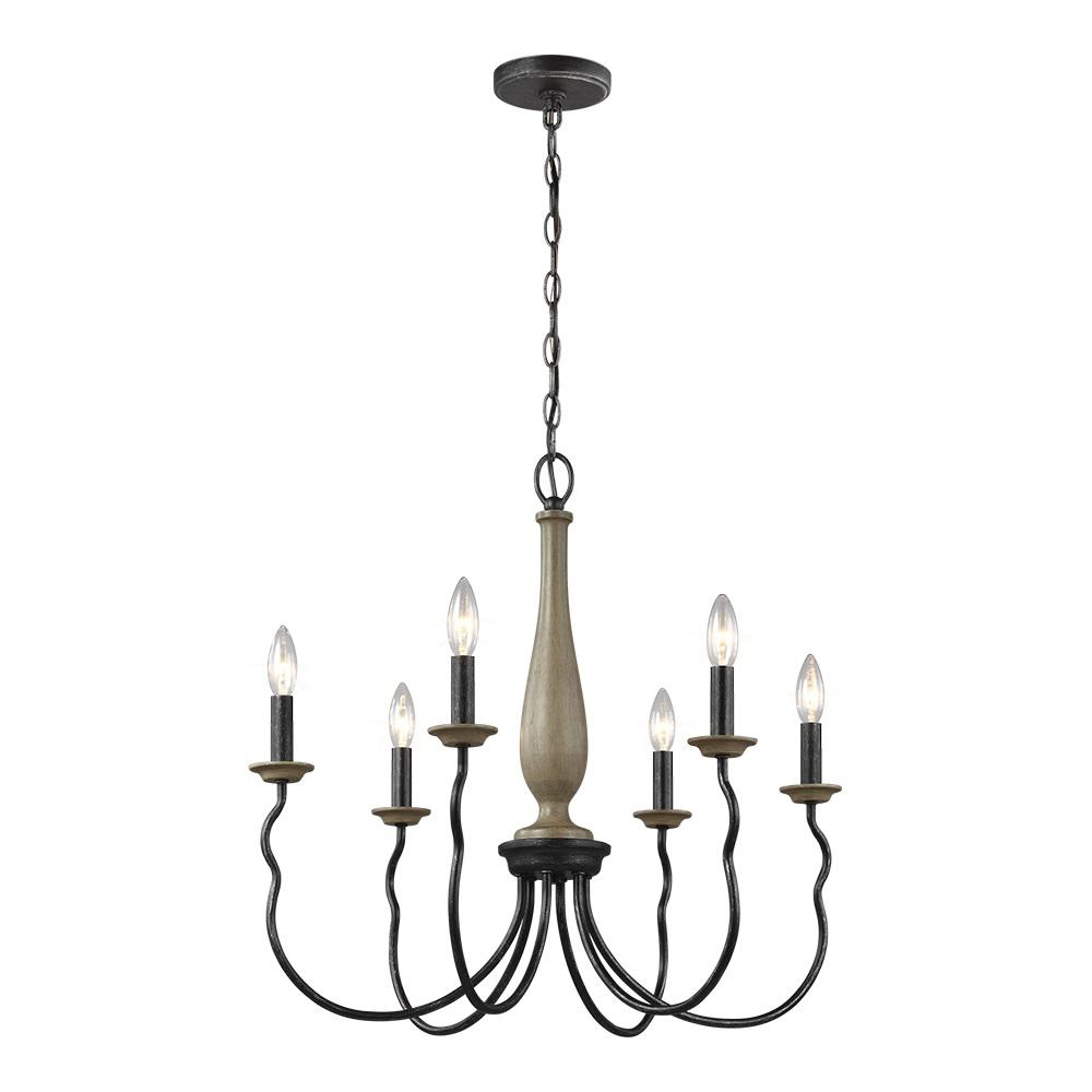 Sea Gull Lighting Simira 25 In W 6 Light Weathered Gray Rustic Farmhouse Candle Style Chandelier With Distressed Oak Finish Accents