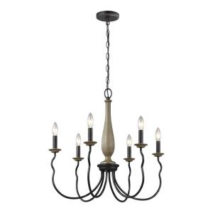 Sea Gull Lighting Simira 25 in. W 6-Light Weathered Gray Rustic Farmhouse Candle Style Chandelier with Distressed Oak Finish Accents