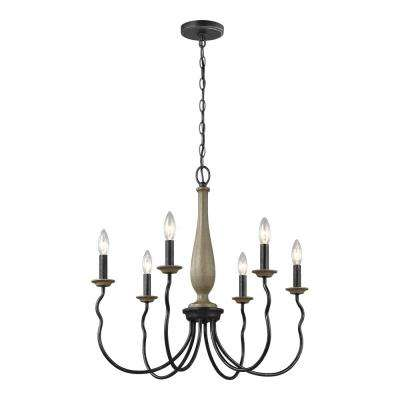 Simira 25 in. W 6-Light Weathered Gray Rustic Farmhouse Candle Style Chandelier with Distressed Oak Finish Accents