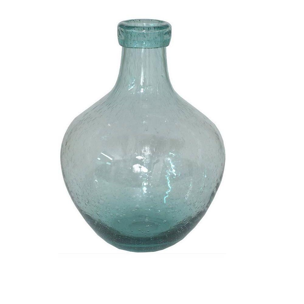 Home Decorators Collection 11 in. H x 8.25 in. Diameter Blue Green Seeded Renae Glass Vase