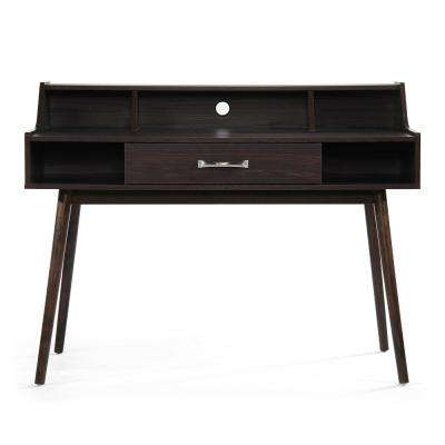 Brenda Mid-Century Modern Walnut Brown Fiberboard Home Office Desk