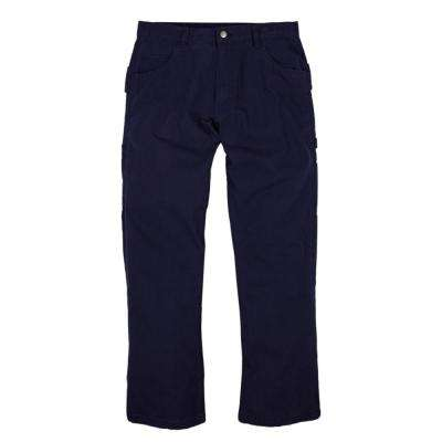 Men's 40 in. x 30 in. Navy 100% Cotton Washed Duck Carpenter Pants