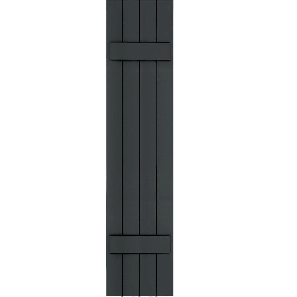 Winworks Wood Composite 15 in. x 69 in. Board and Batten Shutters Pair #632 Black