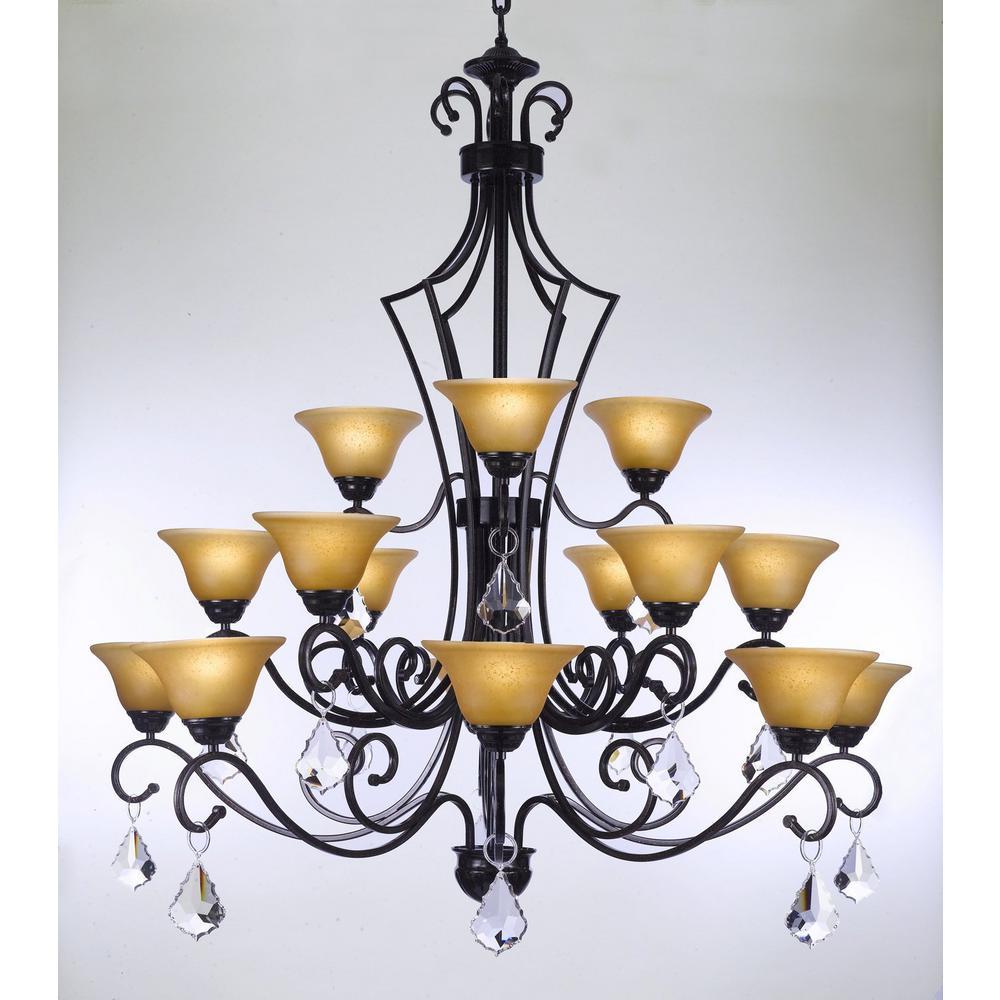 Versailles 15-Light Black Iron and Swarovski Crystal Chandelier