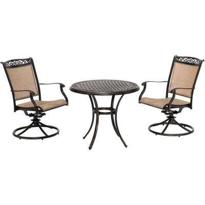 Fontana 3-Piece Aluminum Outdoor Bistro Set with 2 Sling Swivel Rockers and a 32 in. Cast-Top Table