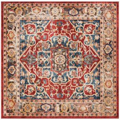 Bijar Red/Royal 7 ft. x 7 ft. Square Area Rug