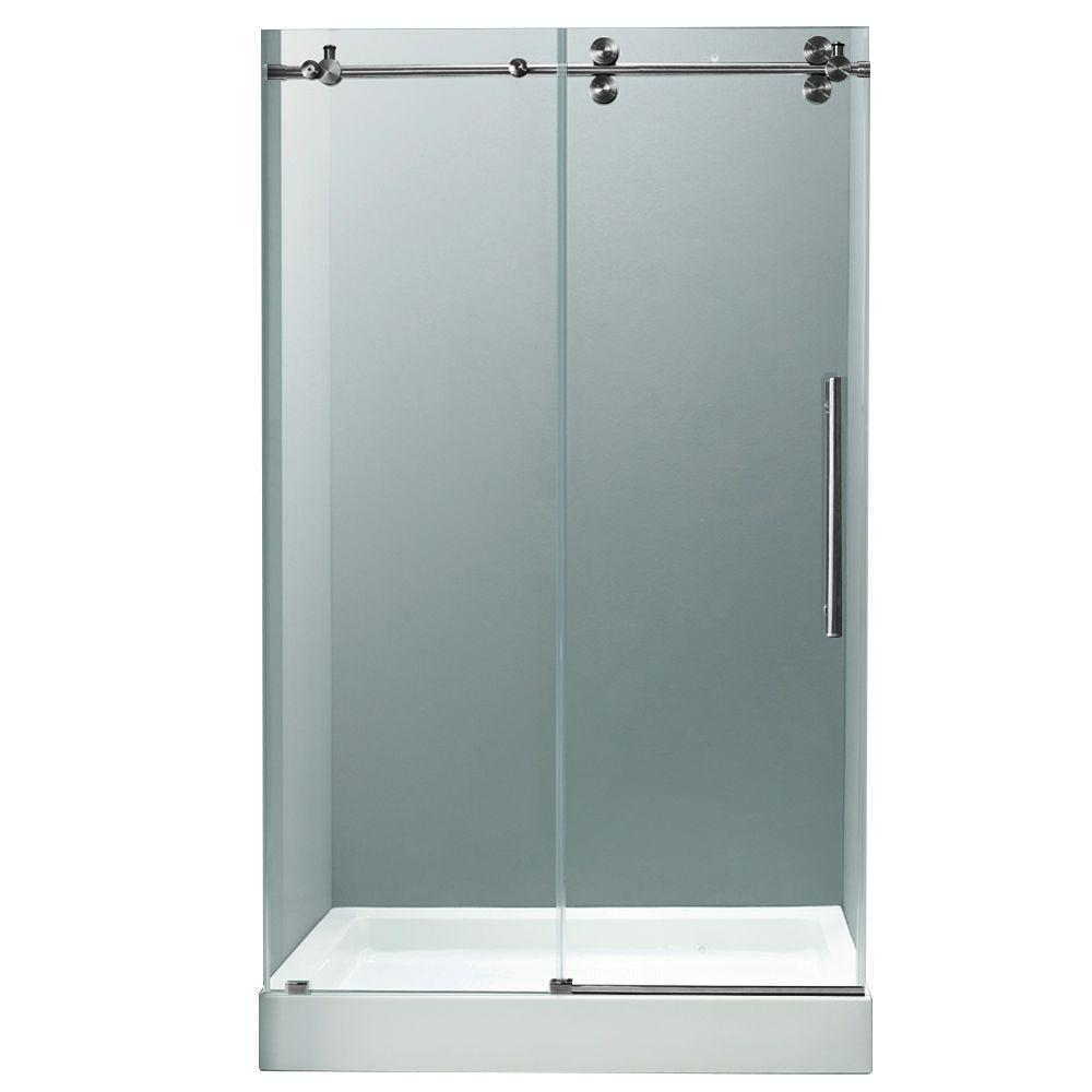 Vigo 48 in. x 80 in. Frameless Bypass Shower Door in Stainless Steel with Clear Glass and White Base with Center Drain