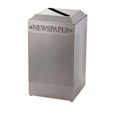 Silhouette 29 Gal. Silver Square Paper Recycling Container