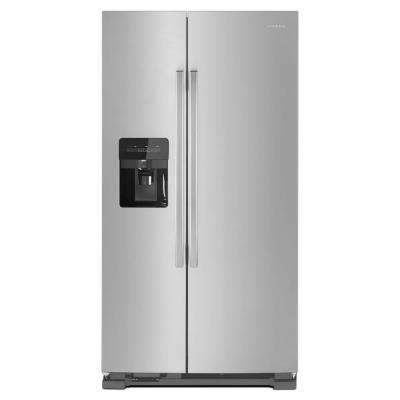 36 in. W 24.6 cu. ft. Side-by-Side Refrigerator with Dual Pad External Ice and Water Dispenser in Stainless Steel