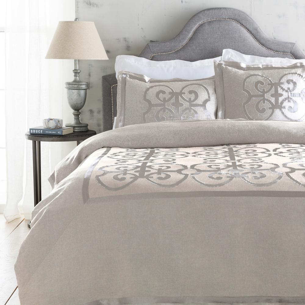 Avaline 2-Piece Light Gray Duvet Cover Set