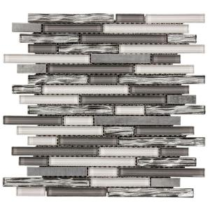 Waves of Grey/Silver 11.875 in. x 11.375 in. Interlocking Glossy Glass/Metal Mosaic Tile (0.938 sq. ft./Each)